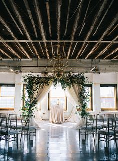 Industrial Chic Oklahoma Wedding | Wedding Planner: Leslie Herring Events | Photography: Josh McCullock | Videography: Dewberry Cinema | Floral: Poppy Lane Design | Decor/Rentals: Mood Party Rentals #bridesofok #wedding #altar