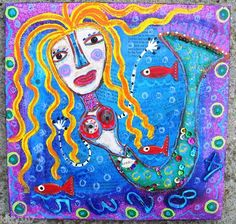 """April The Happy Mermaid"" mixed media creation on wood....."