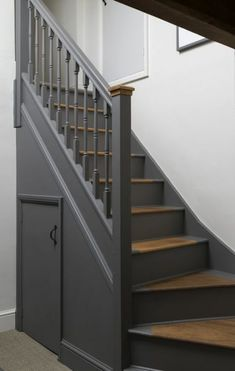 Second Floor Stairwell: Walls and staircase painted using Little Greene Linen Wash and Dark Lead. Stair treads are treated with Osmo Polyx-oil. Painted Staircases, Painted Stairs, Wood Stairs, House Stairs, Stair Railing, Spiral Staircases, Painting Wooden Stairs, Staircase Banister Ideas, Staircase Painting