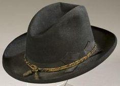 Head Gear; Slouch Hat, Civil War, Officer, Black Fur Felt, Acorn Cord.