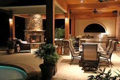 Perfect back patio: fireplace, outdoor kitchen, and pool!