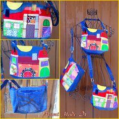 Taschen und Täschchen aus Jeans und Stoffresten / Bags and pouches made from jeans and scraps of fabric / Upcycling