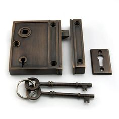 Vertical Brass Rim Lock Set with Brown Porcelain Knobs - Right Hand - Oil Rubbed Bronze