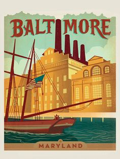 Baltimore, MD - After winning international acclaim for creating the Spirit of Nashville  Collection, designer and illustrator Joel Anderson set out to create a  series of classic travel posters that celebrates the history and charm  of America's greatest cities. This loveley print celebrates the historic charm of Baltimore's bustling harbor district.