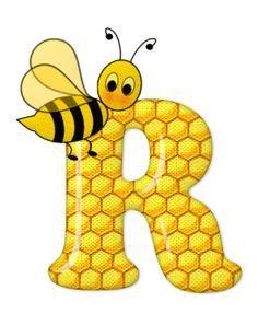 Alphabet letters bee on honeycomb. Alphabet And Numbers, Monogram Alphabet, Scrapbook Letters, Bee Pictures, Alfabeto Animal, Bee Party, Cute Bee, Preschool Crafts, Bee Crafts