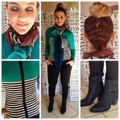 Emerald&navy striped jersey: Truworths. Scarf: Style36 (YDE). Oorbelle: Zando . Boots: Country Road