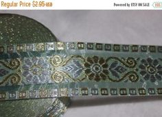 "On sale 10% off 1.75 yards mint green Gold Silver sheer organza ribbon sari trim 1.5"" wide s837"