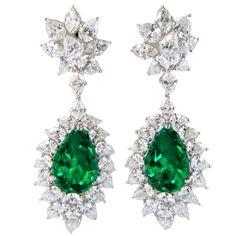 1stdibs - Diamond+Emerald+Platinum+Earrings explore items from 1,700+ global dealers at 1stdibs.com