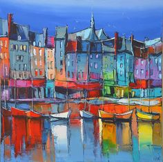 LIGHT ON HONFLEUR BY ERIC LE PAPE. A very free and colorful rendition of buildings and boats creating a wonderfully fun painting!! #buildings #art SEE MORE ART NOW www.richard-neuman-artist.com