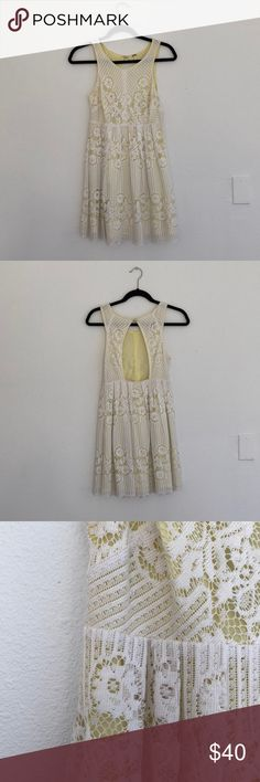Free People Open Back Lace Dress Free People Lace Dress. Open back with size zip. White Lace with Yellow Inner Lining. Size 0. Very little use. Free People Dresses Backless