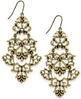 Bar III Gold-Tone Etched Lace Chandelier Earrings