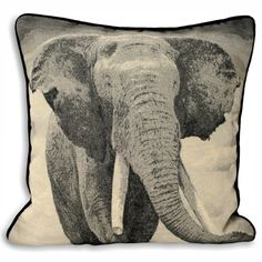 COMPANY HALT! Black and white pictorial elephant cushion cover! How sweet! Mix it with scatter cushion in your garden for a safari feel