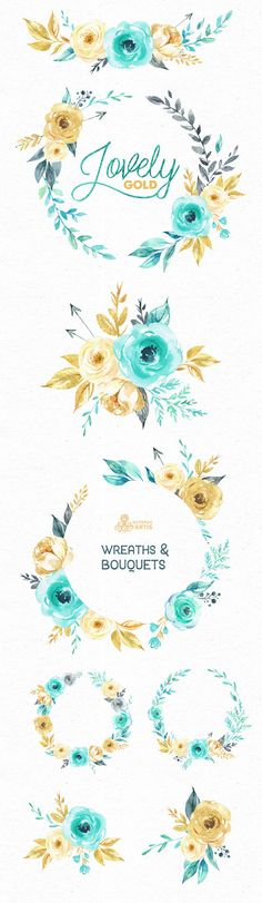 Lovely Flowers Gold. Wreaths and Bouquets. от OctopusArtis на Etsy