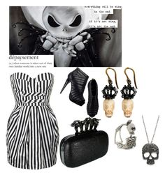 """Jack Skellington"" by wicked-elsa ❤ liked on Polyvore featuring Forever Unique, Pierre Hardy, Delfina Delettrez and MANGO"