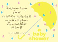 """Baby Shower Umbrella Invitation. 6-3/4"""" x 4-7/8"""". A portion of the proceeds from the sale of this invitation is donated to help support cancer patient care programs at The Roswell Park Cancer Institute."""