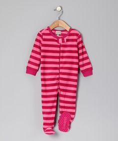 Take a look at this Dark Pink Stripe Fleece Footie - Infant, Toddler & Girls by Leveret on #zulily today!