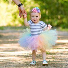 Pastel Rainbow tutu set with glitter headband. Great for kids unicorn costumes and smash cake photos. Smash Cake Tutu