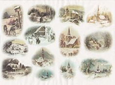 Rice Paper for Decoupage Decopatch Scrapbook Craft Sheet Vintage Winter Village3