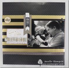 Black & White with Gold Daddy's Love Scrapbook Layout & a Card using Winter Wonderland designer paper - Northwest Stamper