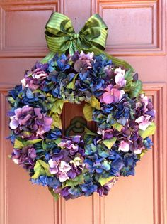 Gorgeous Purple Hydrangea Wreath for Fall and Winter designed and handmade by VintageStableDesigns. Variegated deep purple silk hydrangea