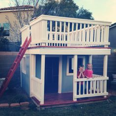 DIY Playhouse, but would add slide on the other side to come down on :)