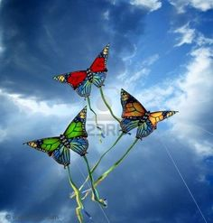 Photo about Three colorful kites at cloudy sky. Image of delight, holiday, bright - 6499185 Kite Surf, Go Fly A Kite, Kite Flying, Kite Designs, Arte Popular, Ballon, Hot Air Balloon, Pinwheels, Butterfly