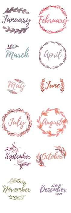 Bullet Journal Monthly Cover Pages. Water color floral wreaths with the months, blank wreaths for DIY lettering Printable Bullet Journal Monthly Cover Pages. Water colorPrintable Bullet Journal Monthly Cover Pages. Bullet Journal Inspo, Bullet Journal Ideas Pages, My Journal, Fitness Journal, Bullet Journal Months, Bullet Journal Water Tracker, Journal Pages Printable, Journal Fonts, Bullet Journal Printables