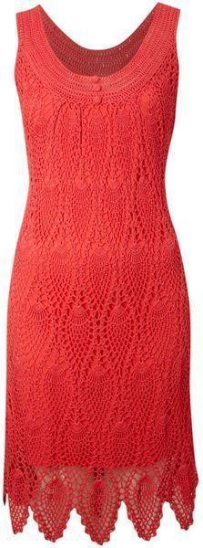 Lindo vestido vermelho em crochet ponto abacaxi.