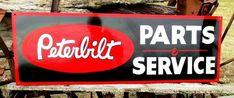 Vintage PETERBILT PARTS SERVICE sign Dealership Shop Garage KENWORTH Trucking Vintage Signs For Sale, Hand Painted Signs, Metal Signs, Hand Lettering, Vintage Style, Garage, Trucks, Paintings, Garages