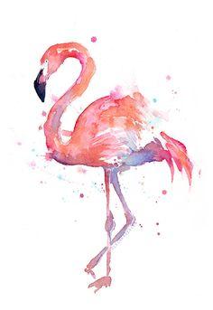 Pink Flamingo Watercolor, Art by Olga Shvartsur