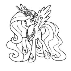 My Little Pony Posing With Wearing A Crown Coloring Pages For Kids Printable