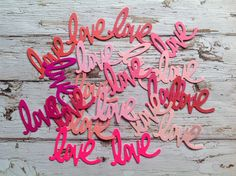 Die cuts, word sentiments, love die cuts, papercrafts, card embellishments, love sentiment die cut by PinkyPromiseBargains on Etsy