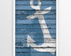 Anchor Print Nautical wall art Wood Anchor Sign by Nautical Wall Decor, Beach Wall Decor, Nautical Home, Beach House Decor, Coastal Decor, Home Decor, Anchor Art, Wood Anchor, Marine Style