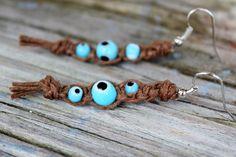 Blue Evil Eye Hippie Hemp Earrings by Islandjunkie09 on Etsy