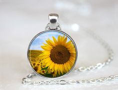 Sunflower Changeable Magnetic Pendant Necklace with Organza Bag by HappyBugDesigns on Etsy