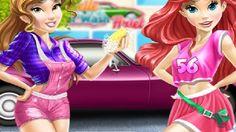 Em Princesas Disney Spa de Carros, as Princesas Disney: Ariel e Bela estão precisando de dinheiro e por isso resolveram criar um Spa para cuidar dos carros. Mas para isso, elas precisam de sua ajuda. Ajude as princesas cuidar dos carros lavando, limpando e fazendo alguns reparos para que eles fiquem como novos. Divirta-se com as Princesas Disney!