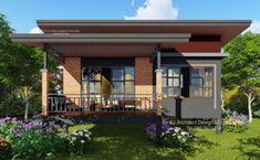 แบบบ้านชั้นเดียวสไตล์โมเดิร์น ยกพื้นต่ำ สวยเด่นด้วยผนังอิฐโชว์แนว ขนาด 2 ห้องนอน 1 ห้องน้ำ งบก่อสร้าง 800,000 บาท Thai House, Style At Home, House With Balcony, Modern Bungalow House, Small House Design, Brick Wall, Home Projects, Gazebo, Home Goods