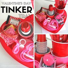Make a Valentines Day tinker tray for your inventor. Encourage imagination and creation with a Valentines Day tinker tray. Perfect for little engineers. Valentines Day Activities, Christmas Activities, Stem Activities, Activities For Kids, Crafts For Kids, Children Crafts, Preschool Themes, Valentine Theme, Valentines Day Party