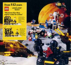 A page from a 1988 LEGO catalog featuring the Blacktron sets from the LEGOLAND Space theme