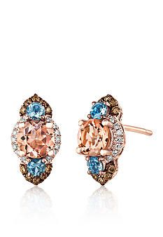 Le Vian 14k Strawberry Gold Morganite Sea Blue Aquamarine Chocolate Diamond And Vanilla 3 Stone Earrings Belk Exclusive