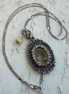 Victorian Romantic Lovely Grey Rhinestone Picture Frame Pendent Hanging charms Rose Stones Metal Misc Jewelry Necklace by DreamAddict on Etsy