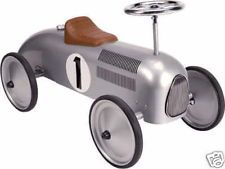 SILVER RETRO CLASSIC VINTAGE RIDE ON TRADITIONAL STEEL METAL TOY CAR, baby gift