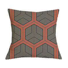 Orange and Black Geometric Graphic Pattern Pillow Case