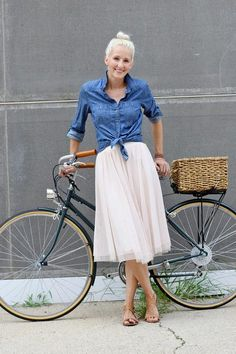 flowy skirt / denim shirt / sandals// and love that bike!!