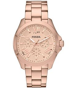 Fossil Watch, Women's Cecile Rose Gold-Tone Stainless Steel Bracelet 40mm AM4511…