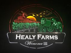 Healy Farms, CUSTOM DESIGN REQUEST FOR FARM VIEW WITH TRACTOR AND CORN HARVEST WITH CLOUDS AND OLD STOCKYARD AND THE NAME OF THE FARM ILLUSTRATED IN DECORATIVE VIEW.
