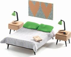 Dolls House Parents Room by Djeco Colorful Furniture, Furniture Sets, Toys Australia, Parents Room, Roof Colors, Dollhouse Furniture, Colorful Interiors, Contemporary Design, Toddler Bed