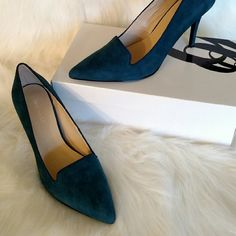 """Must have for menswear trend Hi there! I've decided to close my closet. If you're interested in this item, purchase before the end of the week. Thanks! ????  3"""" heels by Nine West. Great edition to round out a menswear as woman look. Deep teal color, suede. Worn once, slight wear that only suede shows. Original box. Great staple heel for business casual. Nine West Shoes Heels"""