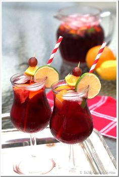 Sangria recipe   2 cups Red Table Wine 1 cup Peach Brandy 1 cup Triple Sec 2 cups orange juice Cut with club soda and sliced fruit.