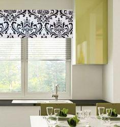 White Black Damask Curtains  Valance Window Topper by OldStation